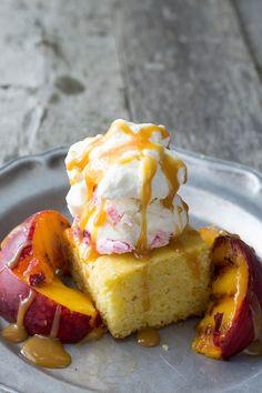 Grilled Peach & Cornbread Sundae   www.siftandwhisk.com