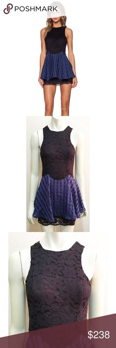 "NWT NBD Small Tough Love Dress in Black and Navy Brand new with tags black and navy 'Tough Love' dress by NBD. Size small. Fully lined with exposed zipper back. Fitted lace body with attached skirt. Length is approximately 31"". NBD Dresses Mini"