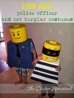 The Chicken Homestead: DIY Lego Man Police Officer and Cat Burglar Halloween costume 9/19/2013 Sneak peek!