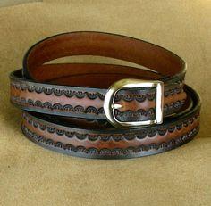 Narrow  Leather Belt, Tooled Leather Belt, Custom Sized Leather Belt on Etsy, $28.00