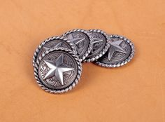 Western Roped Star Bezel Concho by Stecksstore 4 Color Choices Stecksstore