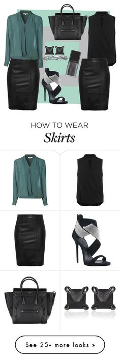 """Leather Skirt"" by robin-eddie on Polyvore featuring Giuseppe Zanotti, Eva Fehren, Miss Selfridge, Glamorous, Pearls Before Swine and Illamasqua"