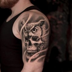 Skull and Owl tattoo by Jose Contreras