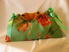 Mint Green Floral  Ribbon Clutch by fancibags on Etsy by fancibags, $45.00