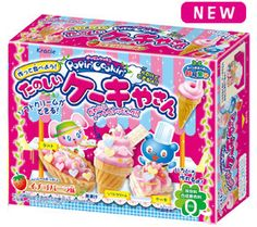 """Popin' Cookin' is a series of Japanese intellectual training confectioneries by Kracie and children can make or decorate various things by confectioneries. Cake Shop kit allows you to make """"cake candy"""".  There are strawberry and vanilla flavors."""