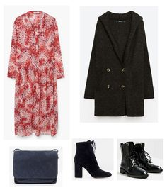 Time for Fashion » Style Consultancy. Red printed midi dress+black lace-up suede heeled ankle boots or black lace-up flat leather ones+dark grey oversized coat+blue-grey crossbody bag. Winter Casual Outfit 2017