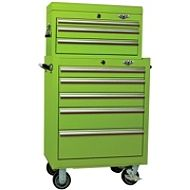 My husband just bought me this set of tool chests for my classroom. We move frequently for the military and they allow me to store and transport all of the school supplies and class sets of materials I have purchased. (Viper Tool Storage: Lime Green, 26-Inch 5 Drawer Rolling Cabinet & 3 Drawer Top Chest, 18G Steel, 100-Pound Ball Bearing Sliding Drawers)