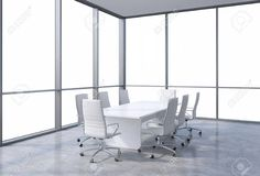 Panoramic corner conference room in modern office, copy space view from the windows. White chairs and a white table. 3D rendering. Foto de archivo - 42362600