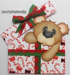Premade Paper Pieced Christmas Bear for Scrapbook Page by Babs