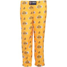 Los Angeles Lakers Youth Boy's Allover Print Lounge Pant - Gold - $14.99