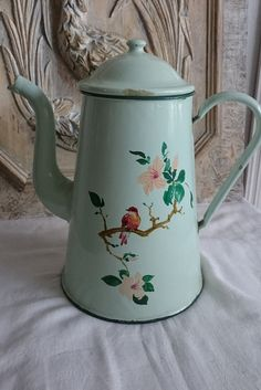 Vintage French Enamel Coffee Pot Pastel by FrenchPastTimes on Etsy