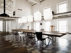 Amazing floor, raw edge wooden table with hairpin legs, everything else as well.  |79 Ideas
