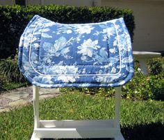 Blue Flowers Saddle Pad by HollywoodHorses on Etsy, $60.00