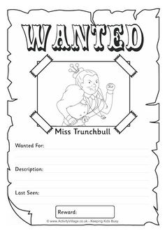 Miss Trunchbull Wanted poster