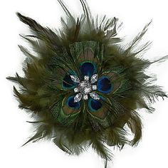Mayuri Peacock Feather Flower Brooch/Hair Clip Accessory - Multiple Colors