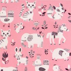 pink bear pig cat elephant animal cotton fabric from Japan 2