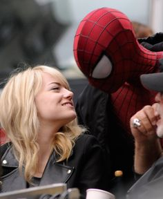 Emma Stone and Andrew Garfield on the set for the Amazing Spider-man 2