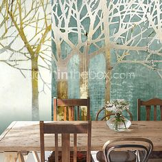 Shinny Leather Effect Large Mural Wallpaper Cartoon Trees Art Wall Decor Wall Paper - USD $38.99