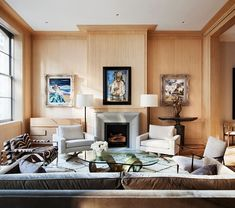 Tribeca apartment for a creative couple. Imbued with downtown chic as well as unique character, the living room displays the owners'… Interior Trim, Contemporary Interior, Beach House, Entryway, Living Room, Dune, Front Row, Furniture, Couple