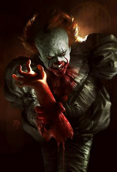 "Robert ""Bob Gray"" aka Pennywise the Dancing Clown, enemy of Maturin the wisdom Turtle Le Clown, Creepy Clown, Art It, Clown Horror, Horror Monsters, Horror Artwork, Pennywise The Dancing Clown, Dark Images, Horror Icons"