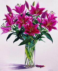 Christopher Ryland SBA (b.1951) — Magenta Lilies  (737x900)