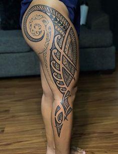 Tribal Tattoos 93116 25 Meaningful Hawaiian Tattoo Designs To Try In 2019 Tribal Tattoo Designs, Tribal Tattoos For Women, Leg Tattoos Women, Tattoos For Women Flowers, Tattoos For Men, Small Tattoos, Samoan Designs, Polynesian Designs, Couple Tattoos