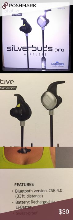Wireless Bluetooth Sport Earbuds Sweatproof New NEW ITEM IN ORIGINAL OPENED PACKAGE-EARBUDS, USB CABLE, EARHOOKS, EARTIPS, POUCH, MANUAL. Bluetooth4.0, APTX audio enhancement, Liquipel Watersafe technology, a nano-coating that surrounds all tiny electrical parts in and around the device Convenient on board controls allow you to change volume, play and pause your music, and answer the phone. IPX6-rated, Water resistant, Sweat proof, 10 hour battery life. Active Lock ear stabilizers…