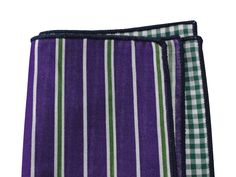Purple Striped & Green Gingham Panelled Pocket Square