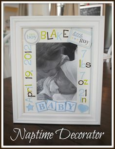 Baby Stats Photo Frame made with simple scrapbooking stickers (Naptime Decorator)
