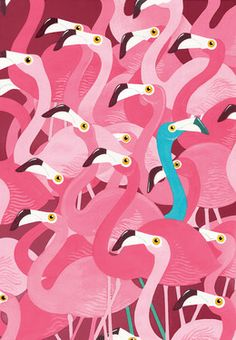 "Saatchi Online Artist Adam Fisher; Painting, ""Flamingoes"" #art"