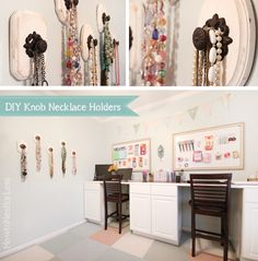 Check out these stylish DIY knob necklace holders using Hobby Lobby knobs and wooden plaques (via howtonestforless.com).