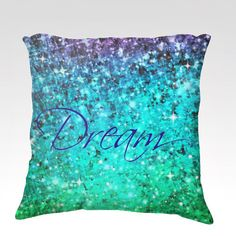 DREAM Fine Art Velveteen Throw Pillow Cover Typography Ombre Abstract Art Painting Midnight Royal Blue Teal Purple Modern Home Decor Cute Pillows, Diy Pillows, Outdoor Throw Pillows, Decorative Pillows, Dream Bedroom, Girls Bedroom, Bedroom Decor, Bedroom Ideas, Bedrooms
