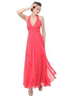 Amazon.com: Ever Pretty Sexy Plunge V-neck Padded Halter Chiffon Bridesmaid Dress 09829: Clothing