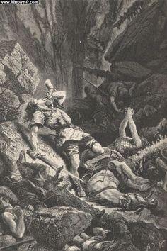 ROLAND soufflant dans son cor afin de prévenir Charlemagne, gravure issue de l'ouvrage Histoire de France, par François Guizot, 1875.- CHARLEMAGNE. 4) BIOGRAPHIE. 4.5 ELARGISSEMENT DE TERRITOIRE. 4.5.4: L'ESPAGNE, 9: Pour les contemporains, cette expédition passa à peu près inaperçue. Le souvenir du comte ROLAND tué dans l'embuscade ne se perpétua tout d'abord que parmi les gens de sa province, dans le pays de COUTANCES.