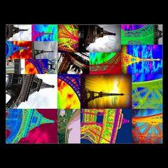 eiffel collage postcard
