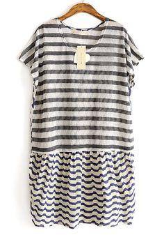 Grey Striped Pacthwork Chiffon Short Sleeve Cotton T-shirt