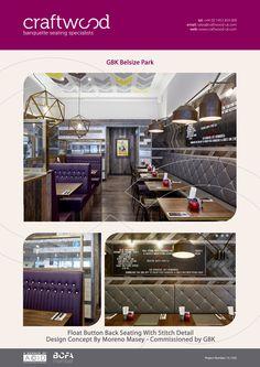 #gbk #restaurant #belsizepark #floatbutton #stitching #bespoke #banquette #craftwood #saddlestitch #detail #crest #leather #grey #purple