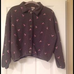Embroidered Grey Breast Cancer Button Up Jacket Collared Grey Sweatshirt Jacket with Metal Button Detail has breast Cancer Pink Embroidered Ribbons on Font, Back and Sleeves.  Tag says size large but I'm listing as Medium since it runs small.  No Trades & No PayPal Jackets & Coats