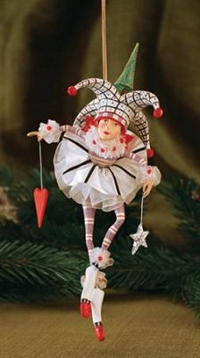 """PATIENCE BREWSTER 2013 JOSIE, JOKER OF HEARTS ORNAMENT Dimensions: 8"""" x 4"""" Primary Material: Stone Resin"""