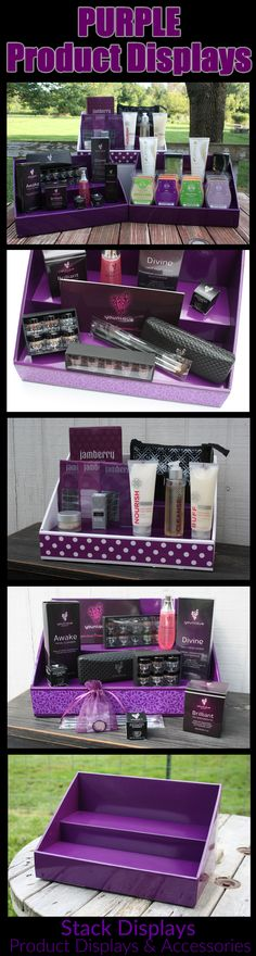 Purple Product Display ideas from Stack Displays! Great for reps from Jamberry Nails, Younique and Scentsy. Use at vendor shows and craft fairs! Many different designs to choose from!