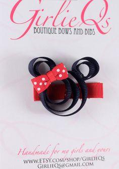 Navy Minnie Mouse Hair Clip Hair Bow Nautical Disney Cruise Line DCL Navy Blue Red. $5.00, via Etsy.
