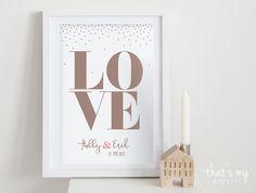 Für alle Verliebte, Verlobte, Verheiratete... Auch toll als Geschenk zur Hochzeit! Bitte nenne mir in der Bestellung - die Namen - evtl. ein Datum Danke! Der Druck (ohne Rahmen) ist in...