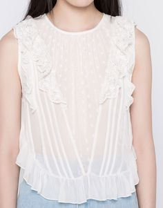FRILLED OPEN BACK TOP - BLOUSES & SHIRTS - WOMAN - PULL&BEAR Serbia