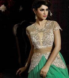 Green Soft Net Embroider Anarkali Suit