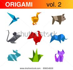 Origami animals logo templates collection 2: bird, duck, dog, mouse, rooster, bull, rabbit, cat. Vector.