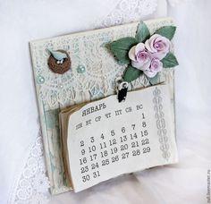 """Купить Настенный календарь 2017 г. """"Прованс"""" - мятный, календарь, календарь ручной работы"""