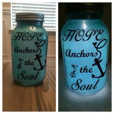 Mason jar, glittered inside, using a solar lid so it lights up at night