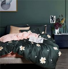 Bohemian Duvet Cover Queen-King Bed Sheet Set and Pillowcases Green Duvet Covers, Soft Duvet Covers, Duvet Cover Sets, Pillow Covers, King Bed Sheets, Fitted Bed Sheets, Queen Size Bed Sets, Queen Size Bedding, King Size