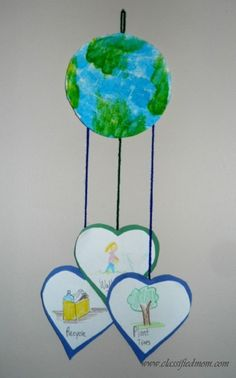 Kid's Craft- Earth Day Mobile What you need: White, blue and green paper Blue and green paint Sponge Scissors Pencil Crayons Yarn or thread Palette Glue stick Tape or hole puncher Optional: smocks, towels or anything else for clean up. Optional: Plates, circular container tops to trace circles.