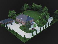 3D-Luftbild des geplanten Grundstücks eines Landhauses.